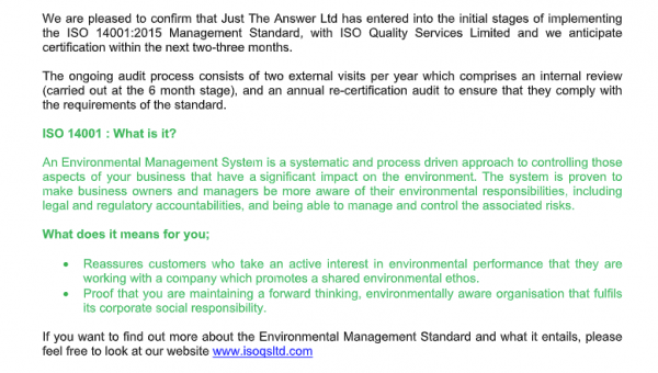 ISO 14001 & going carbon neutral
