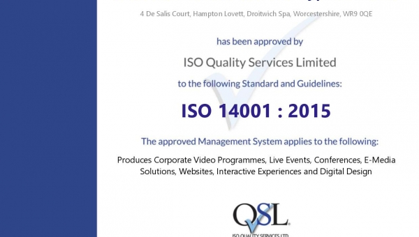 We're ISO 14001 certified!