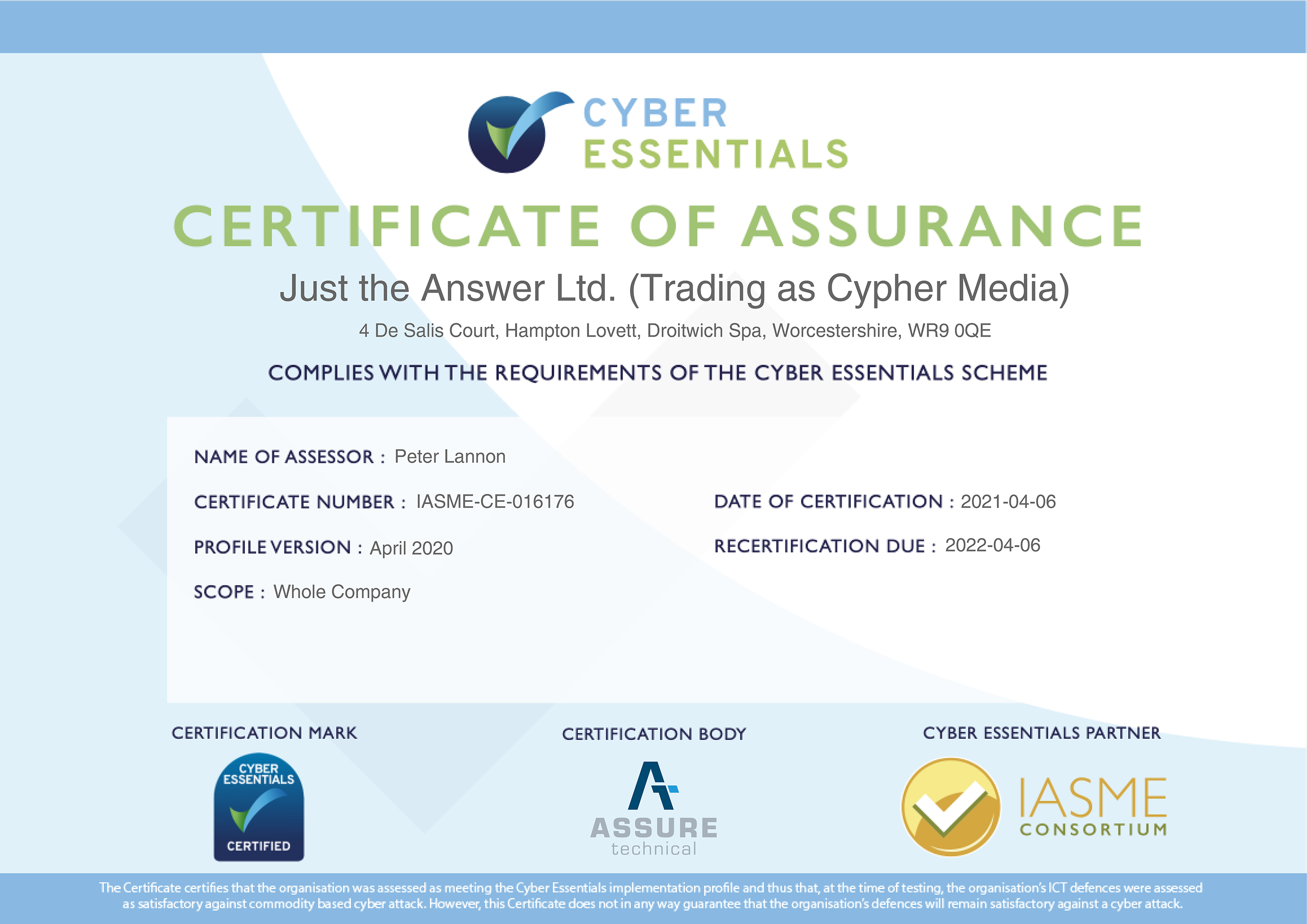 Cyber Essentials Recertification
